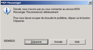 windows live messenger a rencontre une erreur